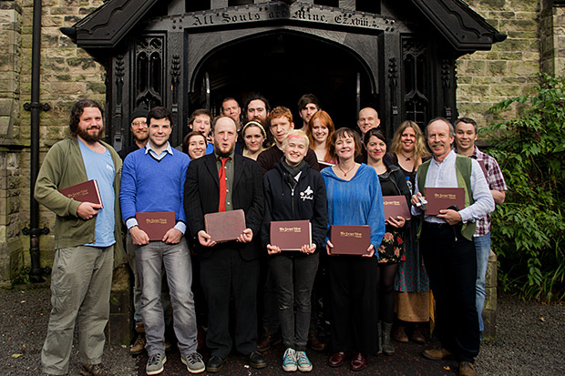 Sacred Harp singers gathered in Belfast, Northern Ireland pose for a group picture. Photograph by Ewan Paterson, 2011.