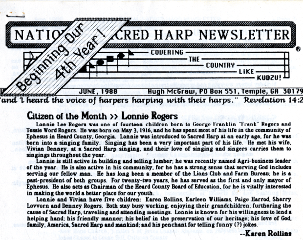 Citizen of the Month: Lonnie Rogers—from Vol. 4, No. 1 of the National Sacred Harp Newsletter.