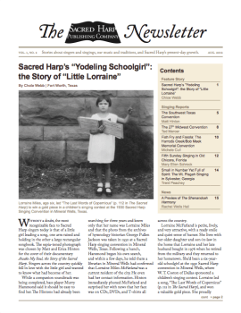 Printable version of the Sacred Harp Publishing Company Newsletter, Vol. 1, No. 2 (2.9 MB PDF).