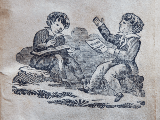An engraving showing children singing out of oblong books and beating time much like modern singers are taught to lead. From Hymns for Sunday Schools, published in 1824 by The Protestant Episcopal Sunday and Adult School Society of Philadelphia. Photography by Laura Densmore.