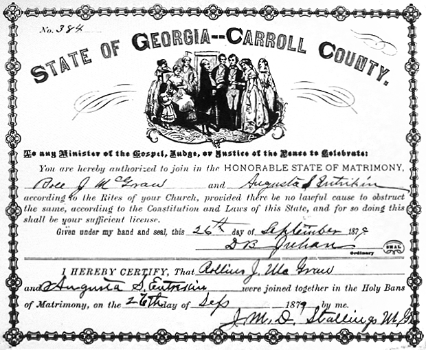 Marriage license of Roland Jackson McGraw and Augusta Ann Savannah Entrekin, 1879.