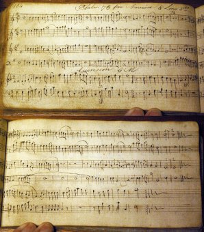 """Psalm 78 from America"" (top four staves), a version of Howd's ""Whitestown"" (SH 211), Joseph Featherston's manuscript book, Upper Wearsdale, 1811."
