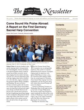 Printable version of the Sacred Harp Publishing Company Newsletter, Vol. 3, No. 2 (4.4 MB PDF).