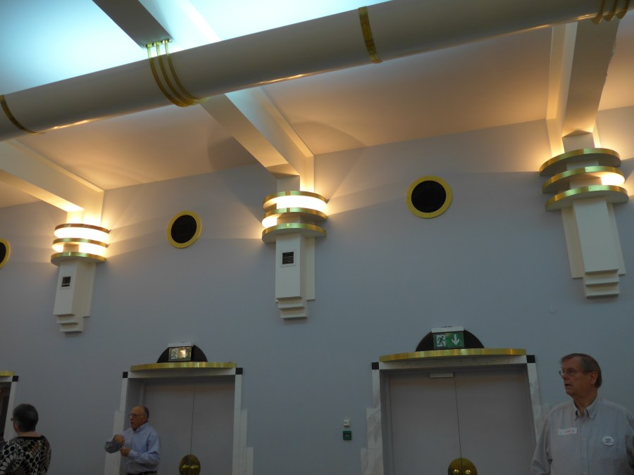 Detail of the Art Deco fixtures at the Poland Convention. Photograph by Kathy Williams.