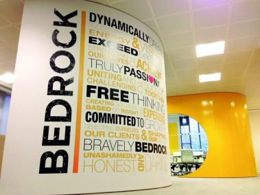 Bedrock and Origins Health Insights Values wall