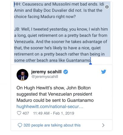 John Bolton Threatens to Send Venezuela's Maduro to Offshore US Prison at Guantánamo