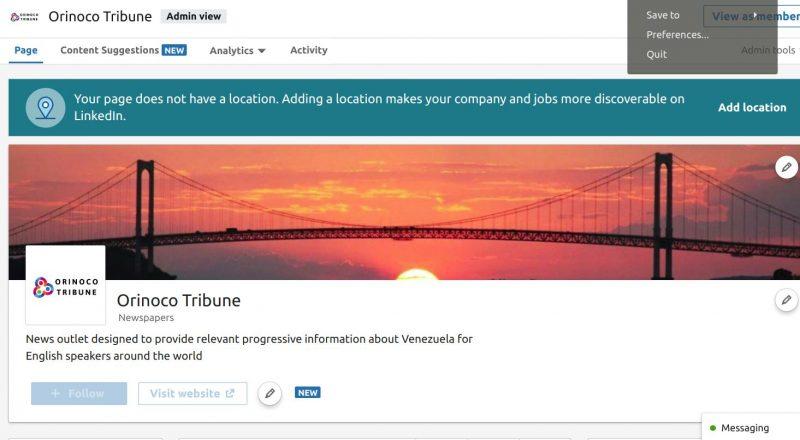 Orinoco Tribune LinkedIn Account Frozen