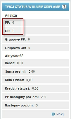 Sprawdź stan punktów i kwotę za zamówienie Oriflame