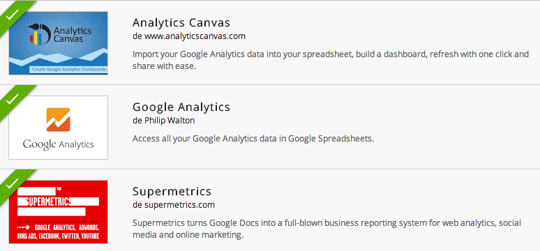 Add-ons de Google Analytics para Google Spreadsheets