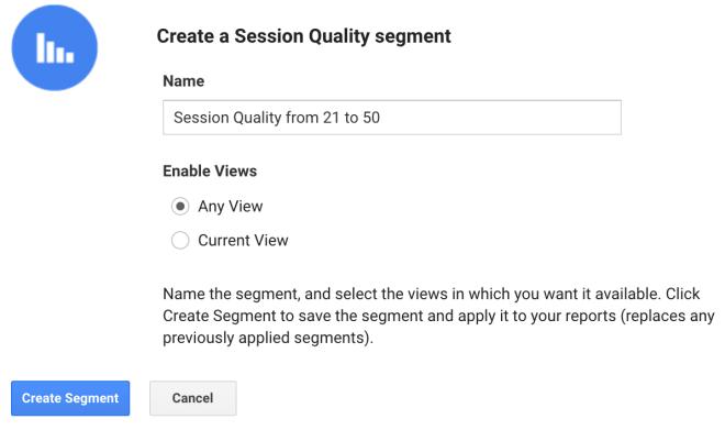 Crear segmentos de session quality