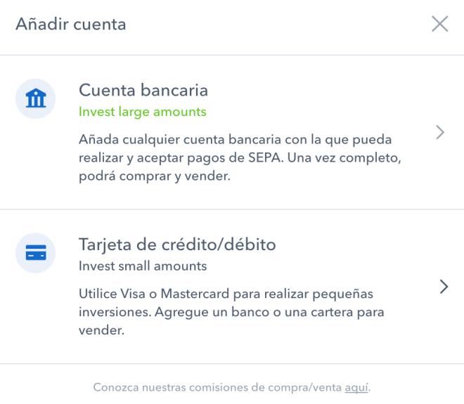 Añadir una cuenta bancaria en coinbase