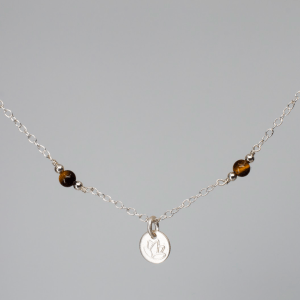 LOTUS CHARM NECKLACE • TIGER'S EYE