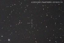 パンスターズ彗星 (C/2014 W2)、雲と地形に阻まれて1コマ撮れたのみ。13.5等(測定値)