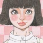 【女の子イラスト】リボンと外ハネの髪の毛の女の子アナログイラスト
