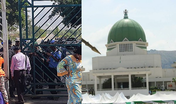 Security-men-and-workers-block-National-Assembly-gate-nigezie-tv