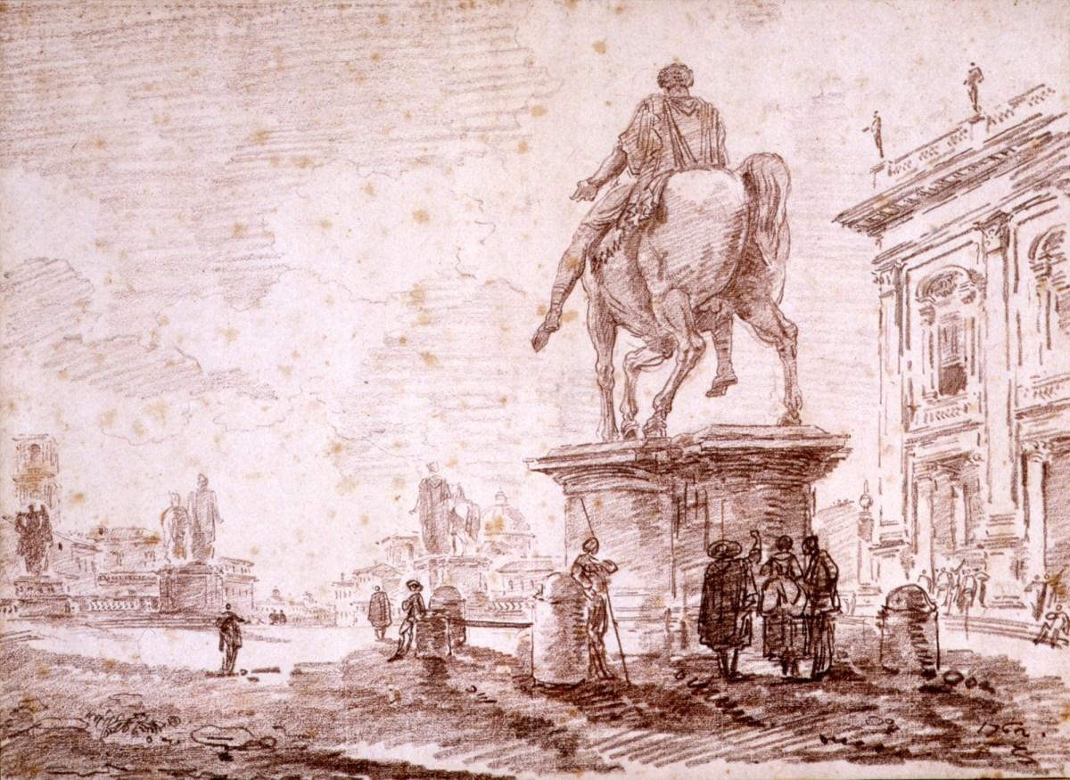 Hubert Robert, Piazza del Campidoglio, Winckelmann Tesori di Antichità Roma
