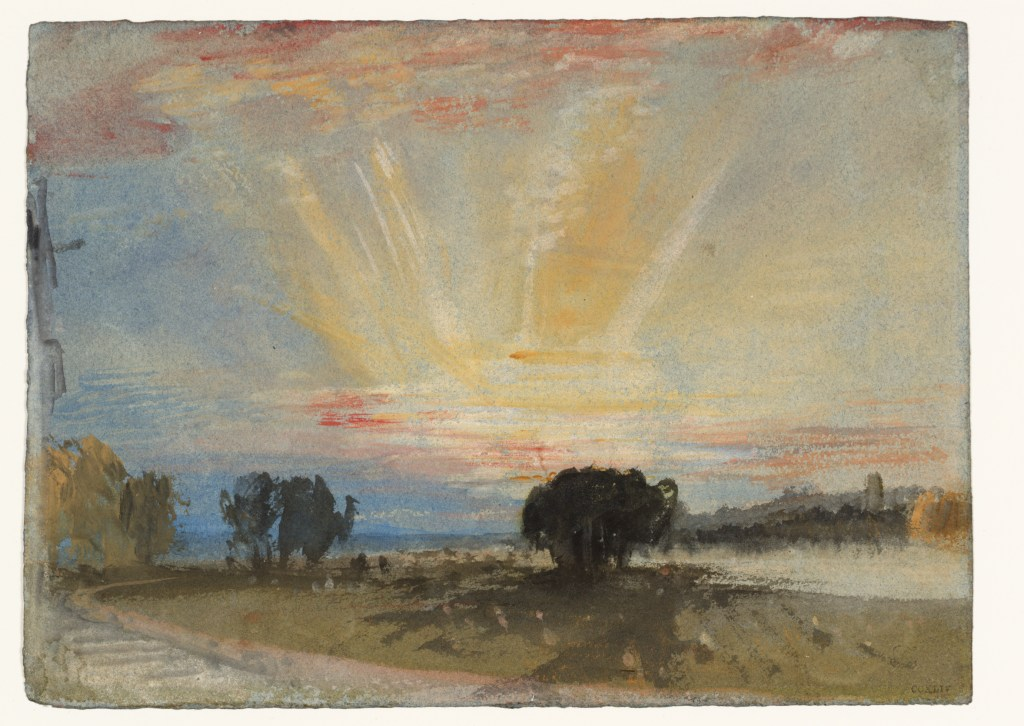 © J. M. W. Turner, Sunset across the Park from the Terrace of Petworth House 1827 Gouache and watercolour on paper Tate: Accepted by the nation as part of the Turner Bequest 1856