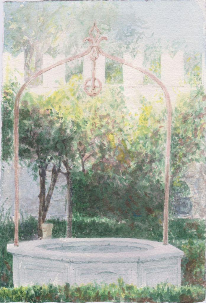 Raffaele Arringoli  Villa Borghese - il pozzo del Museo Canonica, acquerello su carta, Verdi Armonie
