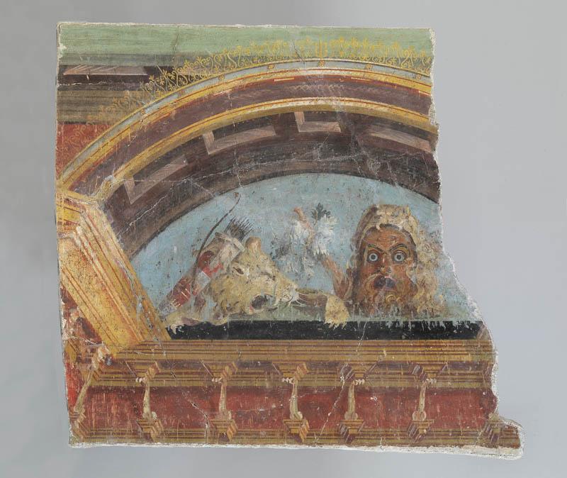 Affresco grande lunetta con maschera e attributi di Ercole, Pompei