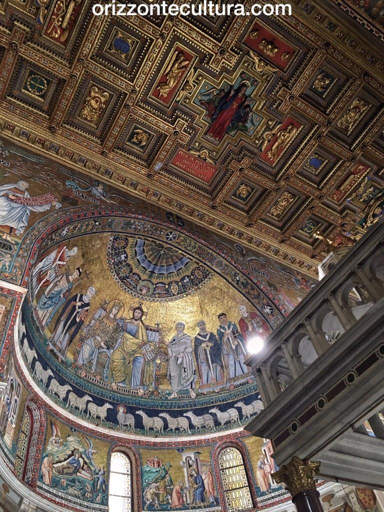 mosaici abside di Santa Maria in Trastevere, passeggiate romane Basilica di Santa Maria in Trastevere