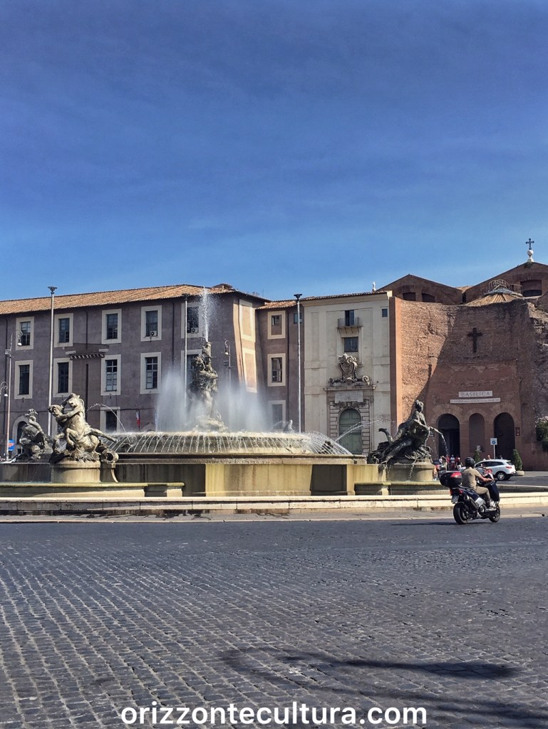 Piazza della Repubblica con sullo sfondo la Basilica di Santa Maria degli Angeli, Le terme di Roma le Terme di Diocleziano