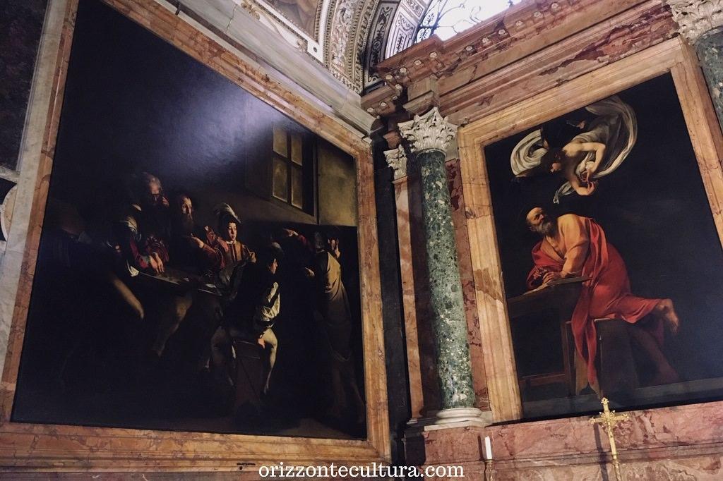 Caravaggio, Vocazione di San Matteo e San Matteo e l'Angelo, Chiesa di San Luigi dei Francesi Roma, dove vedere opere di Caravaggio gratis a Roma