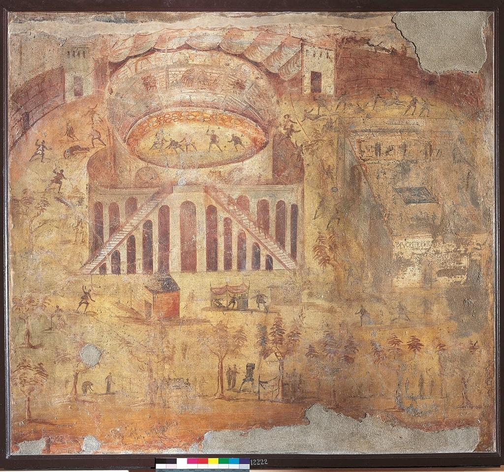 Affresco con scena di rissa fra pompeiani e nocerine nell'anfiteatro di Pompei