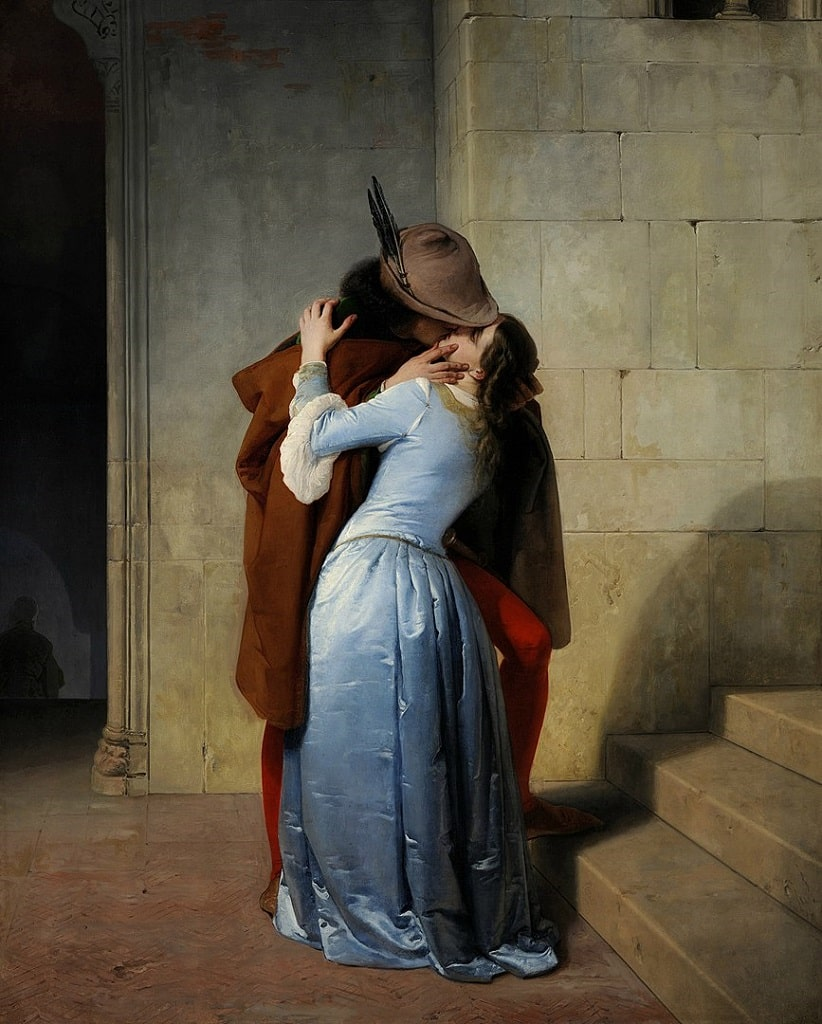 Francesco Hayez, Il bacio, baci famosi arte