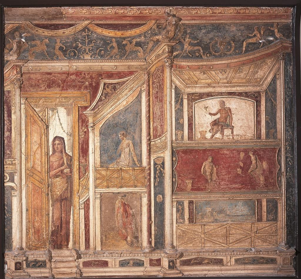 Parete in stucco policromo, 62-79 d.C.; da Pompei