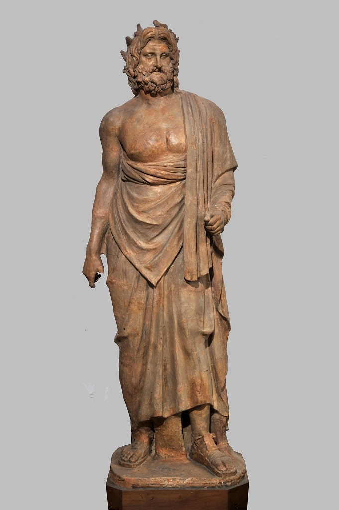 Statua in terracotta di Esculapio, pompei 79 mostra colosseo