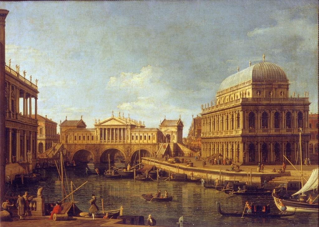 Antonio Canaletto, Capriccio con edifici palladiani, 1750 ca. Olio su tela, 580x820 mm. Complesso monumentale della Pilotta, Parma
