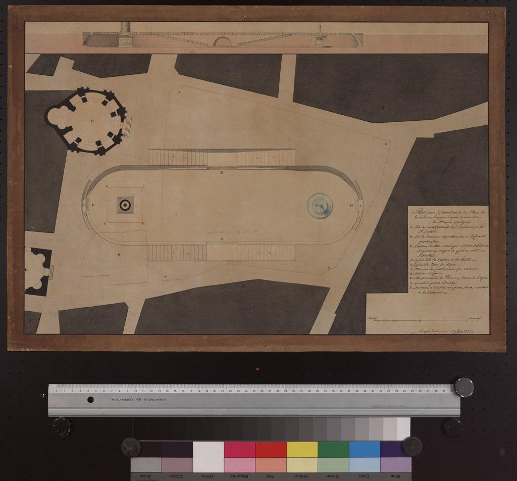 G. Valadier e G. Camporese, Progetto per la sistemazione dell'area a sud della Colonna Traiana, Napoleone e il mito di Roma