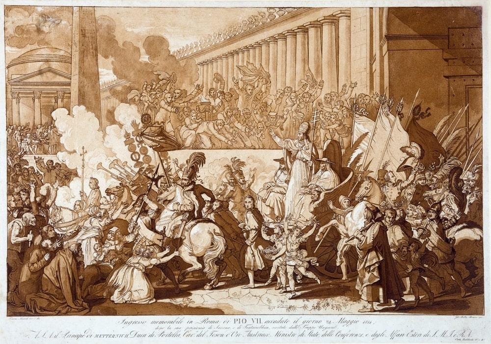 Giovanni Battista Romero, Tommaso Minardi, Ingresso a Roma di Pio VII dopo la prigionia di Savona e Fontainebleau, Napoleone mostra Fori Imperiali