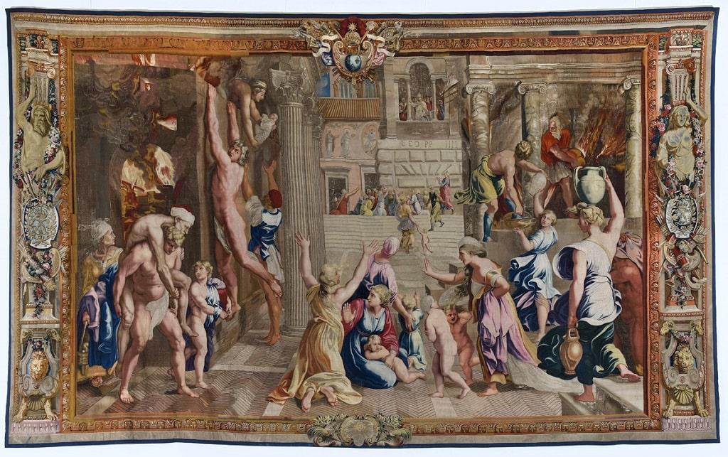 Manifattura Gobelins (da Raffaello), L'incendio di Borgo, arazzo, 1690 c., cm 487 x 800, Mobilier National, Parigi, mostre primavera estate 2021