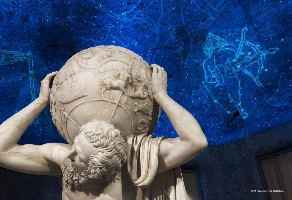 Atlante Farnese, dettaglio mostra Domus Aurea