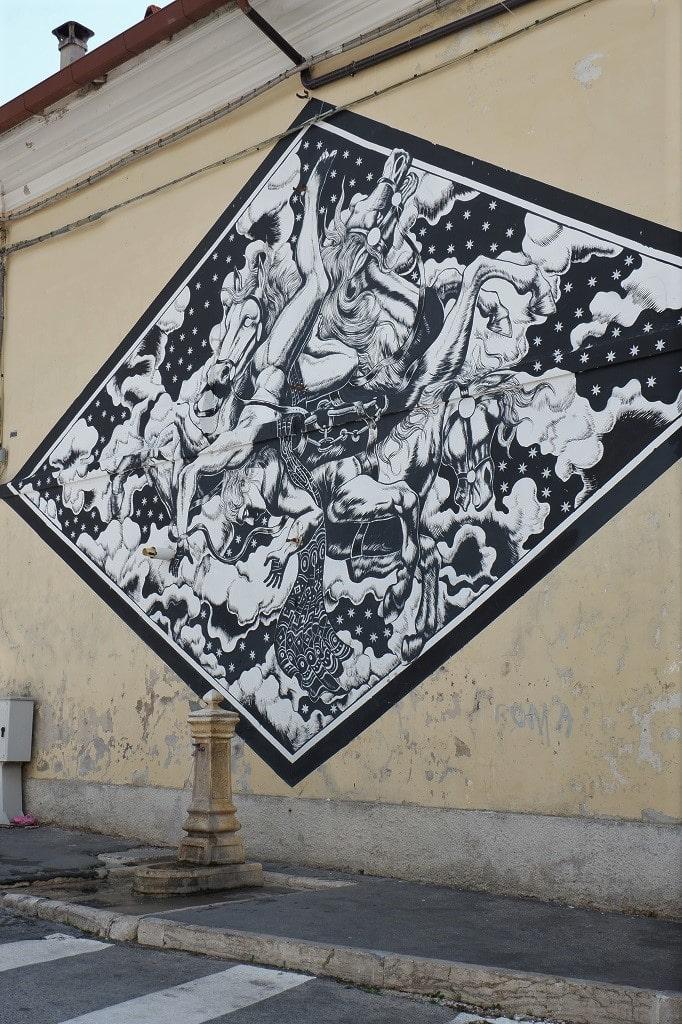 Zamoc e il suo murales ispirato al Mito di Fetonte, murales Aielli