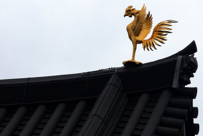 A phoenix at Byodo-in temple in Uji