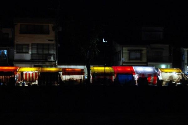 Takayama matsuri, stalls lit up at night