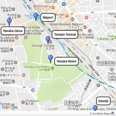 Mappa di Yanaka