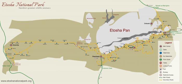 La cartina dell'Etosha National Park
