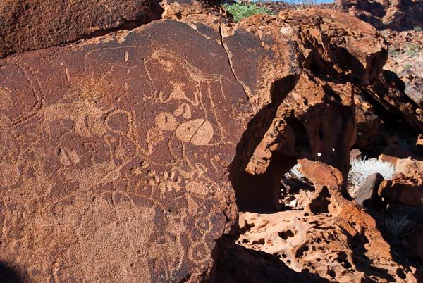 Antiche incisioni rupestri a Twyfelfontein, Namibia