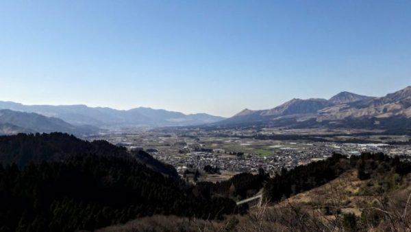 Un panorama della caldera dell'Aso con i suoi centri abitati
