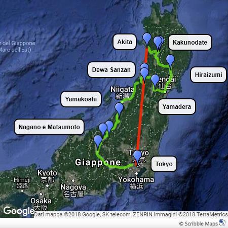 itinerario nel Tohoku