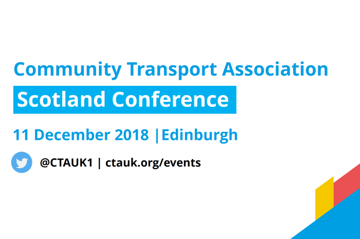 advert for community transport association conference scotland 2018