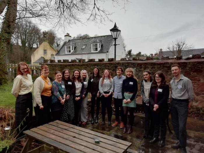 Group photo of the 13 scotgrad training almuni 2019 in Cromarty