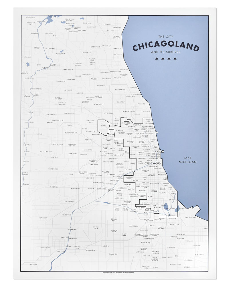 chicagoland a map of chicago and its suburbs 18 x 24 poster