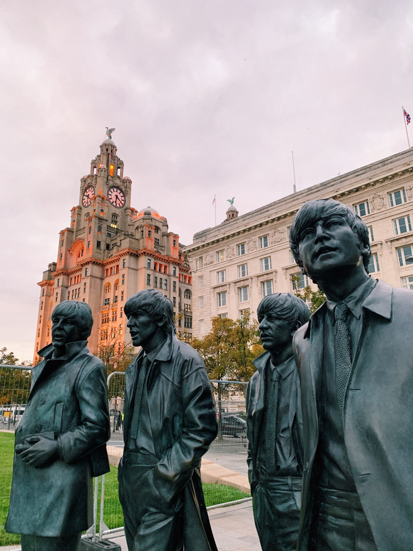 Liverpool Beatles Statue and Liver Building