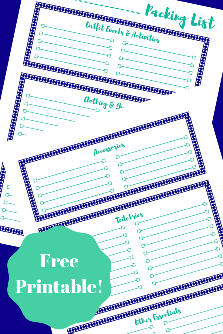 graphic about Free Printable Packing List known as Packing Checklist Printable