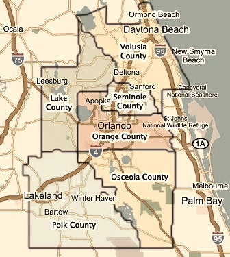 map of orlando and surrounding towns Central Florida County Map Shows 5 Main Counties In Central Florida map of orlando and surrounding towns