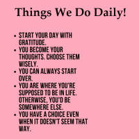 Things We Do Daily